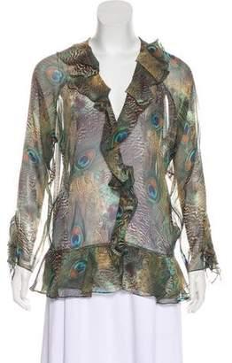 Haute Hippie Silk Ruffled Printed Blouse