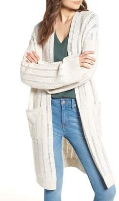 Hinge Long Tweed Herringbone Stitch Cardigan