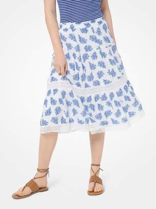 MICHAEL Michael Kors Painterly Reef-Print Crinkled Viscose Skirt