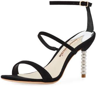 Sophia Webster Rosalind Three-Strap Crystal-Heel Suede Sandal