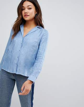 New Look button through shirt in jaquard