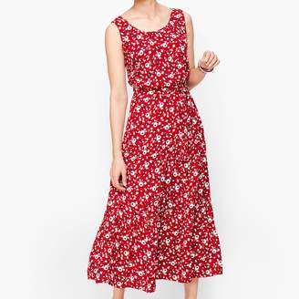 Talbots Floral Crepe Tiered Maxi Dress