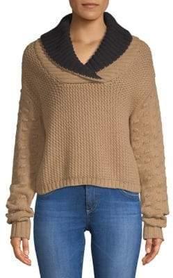 Mixed Knit Shawl Sweater