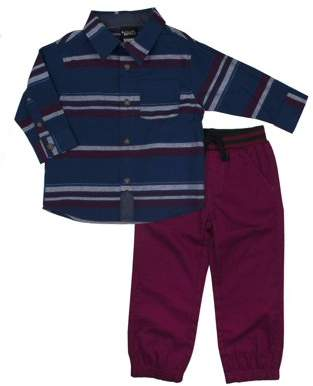 Little Rebels Woven Button-up Shirt & Twill Jogger Pants, 2pc Outfit Set (Baby Boys & Toddler Boys)