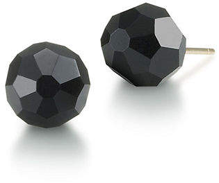 Carolee 8mm Faceted Jet Crystal Earrings