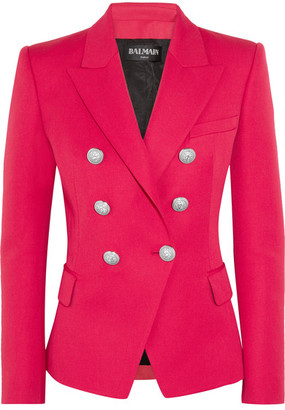Balmain - Double-breasted Wool Blazer - Fuchsia $1,790 thestylecure.com