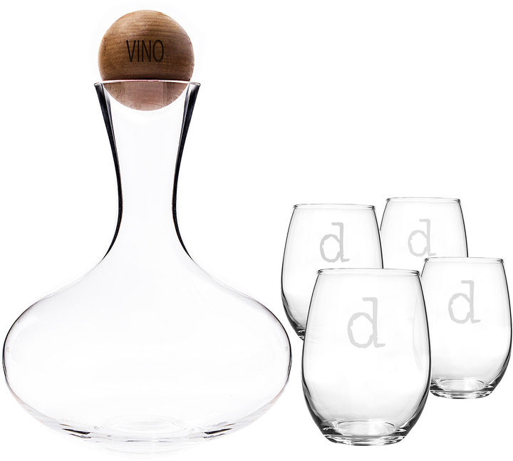 CATHYS CONCEPTS Cathy's Concepts Personalized Wine Decanter & Stemless Glass Set