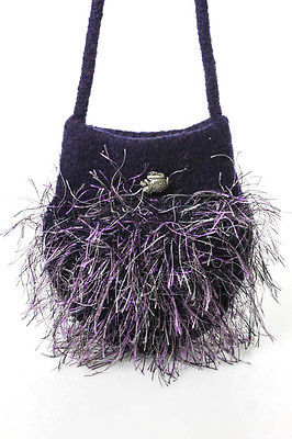 Designer Purple Wool Fringed Single Strap Shoulder Handbag