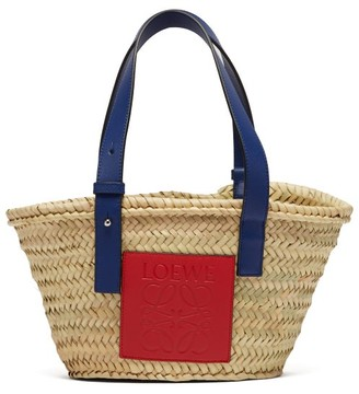 Loewe Small Logo Debossed Raffia Basket Bag - Womens - Cream Multi