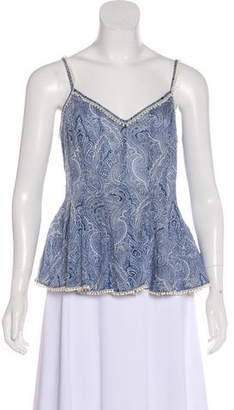 Marchesa Voyage Paisley Print Flared Top