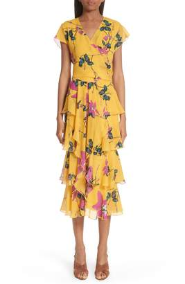 Etro Lily Print Tiered Silk Dress