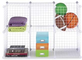 Whitmor Storage Cubes - Stackable Interlocking Wire Shelves - White (Set of 6)