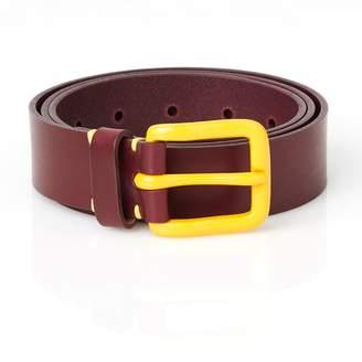 Awling - Modernist Handmade Leather Belt Oxblood and Mustard