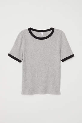 H&M Ribbed T-shirt - Gray