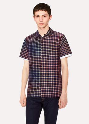Paul Smith Men's Classic-Fit Navy Rainbow Check Cotton-Blend Shirt