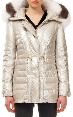 Gorski Fur-Hood Zip-Front Quilted Puffer Apres-Ski Jacket w/ Ribbed Cuffs