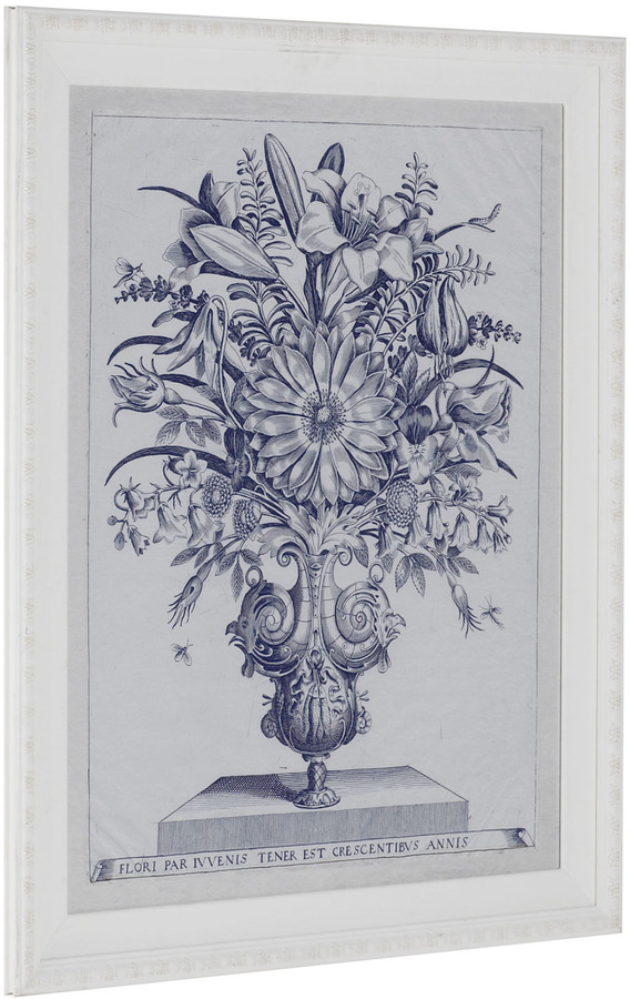 Blue Botanical Urn with Lilies Print
