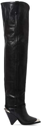 Isabel Marant 90mm Lafsten Leather Over The Knee Boots