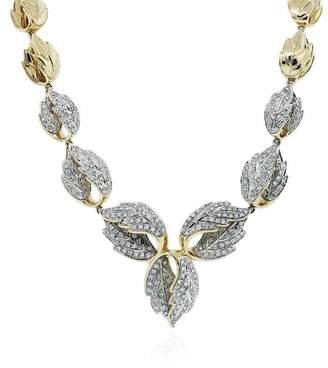 Estate 14K Yellow Gold Diamond Leaf Necklace