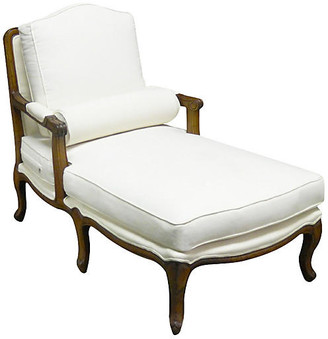 One Kings Lane Tusten Mahogany Linen Chaise - White