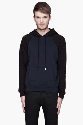 Saint Laurent Navy raglan sleeve Hooded Sweater