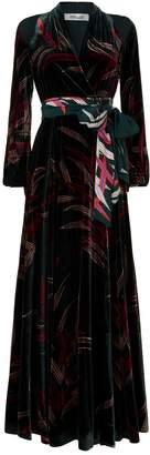Diane von Furstenberg Floral Velvet Maxi Dress