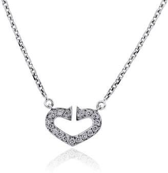 Cartier 18K White Gold Diamond Heart Necklace