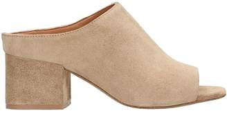 Julie Dee Camel Suede Leather Mules