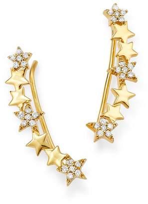 story. OWN YOUR 14K Yellow Gold Cosmos White Diamond Starburst Ear Climbers