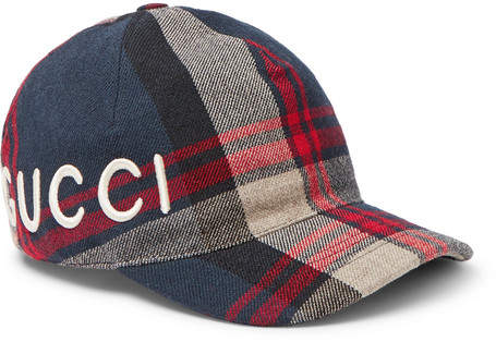 Gucci Embroidered Checked Wool-Twill Baseball Cap
