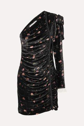 Philosophy di Lorenzo Serafini One-shoulder Floral-print Velvet Mini Dress - Black