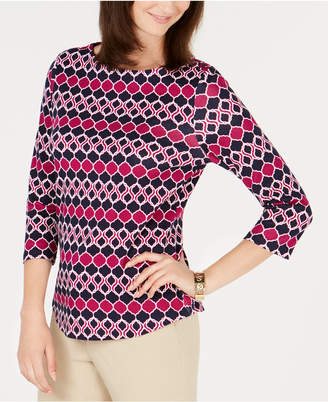 Charter Club Petite Button-Shoulder Print Top