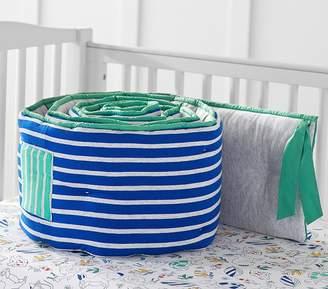 Pottery Barn Kids Margherita Missoni Striped Jersey Pocket Bumper, Blue Multi