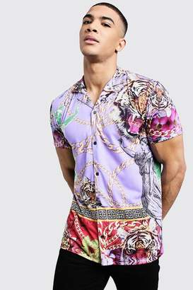 boohoo Lion Print Short Sleeve Revere Shirt