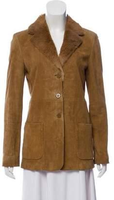 Armani Collezioni Fur-Trimmed Suede Jacket
