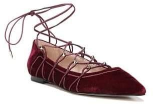 Sam Edelman Rockwell Velvet Lace-Up Flats