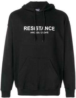 Andrea Crews logo patch hooded sweatshirt