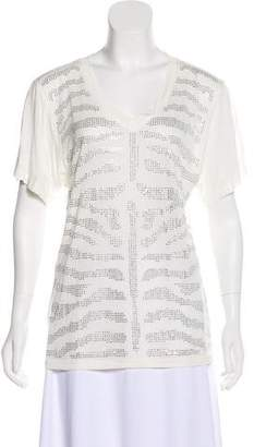 Torn By Ronny Kobo Short Sleeve Embellished Top