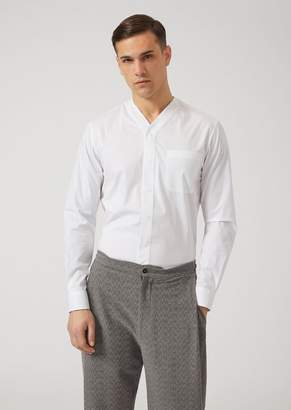 Emporio Armani Stretch Cotton Shirt With V-Neck And Breast Pocket