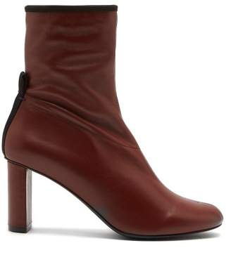 Joseph Block Heel Leather Ankle Boots - Womens - Dark Tan