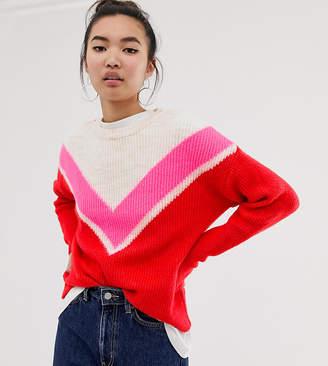 New Look chevron jumper in neon stripe