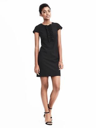 Lightweight Wool Ruffle-Front Shift Dress $138 thestylecure.com