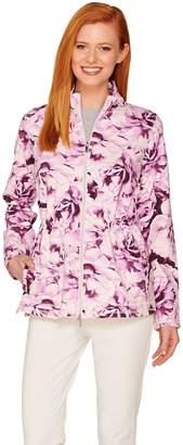 Isaac Mizrahi Live! SOHO Floral Print Anorak Knit Jacket