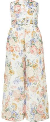 Zimmermann Bowie Strapless Floral-print Linen Jumpsuit - Cream