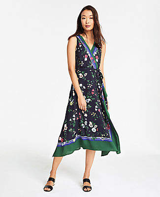 Ann Taylor Petite Floral Border Sleeveless Dress