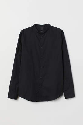 H&M Band-collar Shirt Slim fit - Black