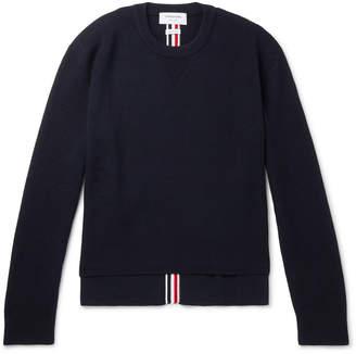 Thom Browne Striped Waffle-Knit Merino Wool Sweater