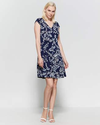 6dd3e407b93 Sandra Darren Navy Floral Fit   Flare Dress