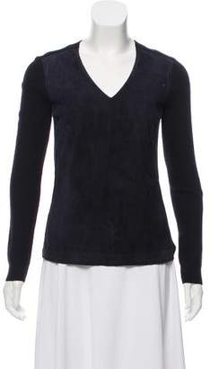 Tory Burch Suede-Accented Rib Knit Sweater