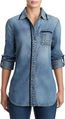 True Religion WOMENS VELVET TRIM BOYFRIEND DENIM SHIRT